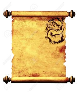 10367737-ancient-parchment-with-the-image-of-dragons-object-isolated-over-white-stock-photo