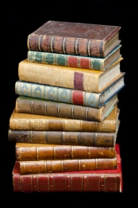 Pile of Leather Bound Antique Books